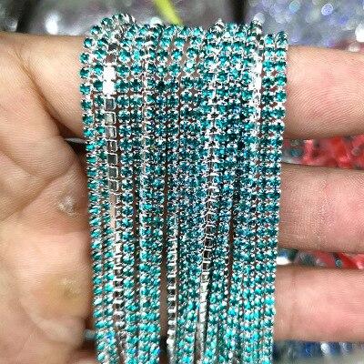 1 ярд/шт, 30 цветов, стеклянные хрустальные стразы на цепочке, Серебряное дно, Пришивные цепочки для рукоделия, украшения сумок для одежды - Цвет: Malachite green
