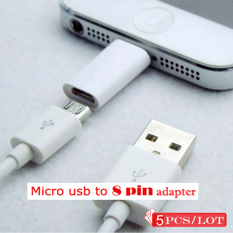 5 PCS High Quality Micro USB To Converter Adapter For IPhone X XS Max XR 5 5s 6 6s Plus For IPad 4 Air Connector Charger Cable