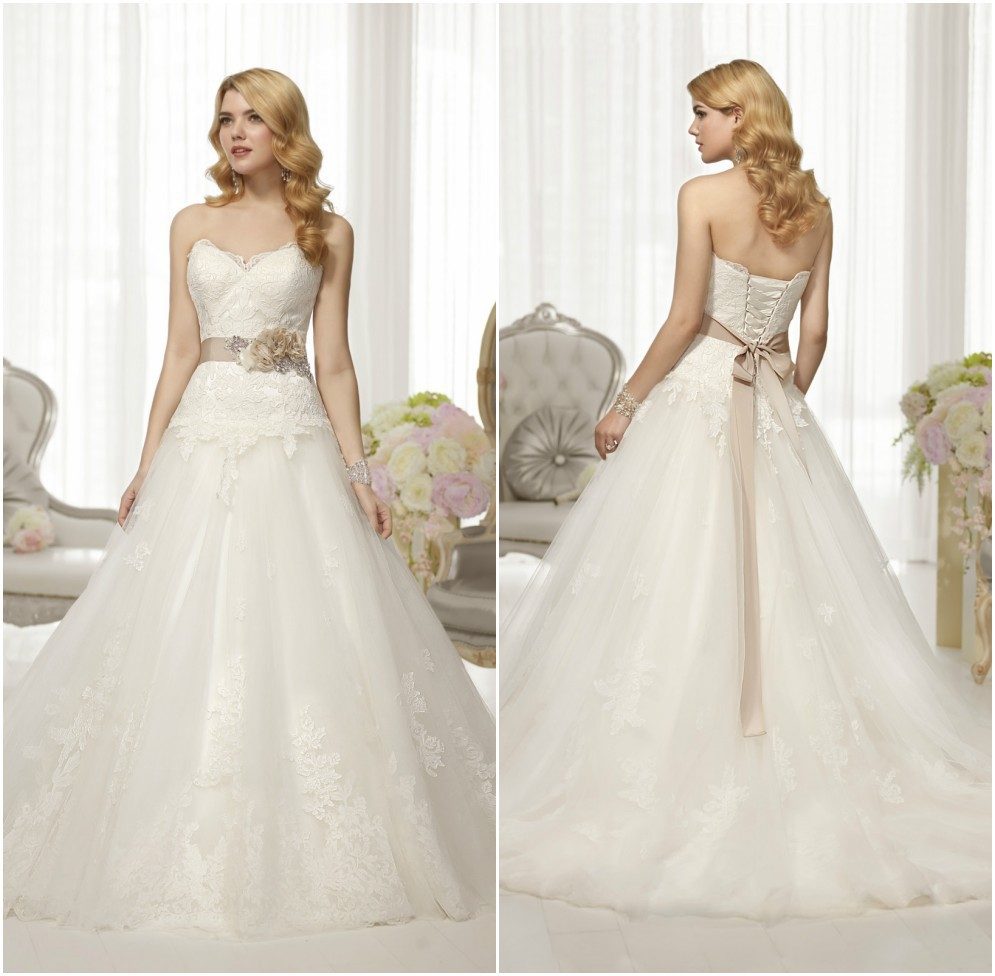 Sexy Sweetheart Lace A Line Wedding Applique Bridal Gown With Floral Sash Plus Size Free Shipping