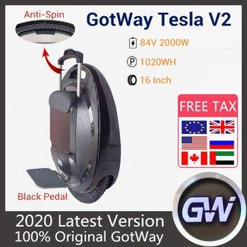 2020 original gotway tesla 2 monociclo 1020wh 2000 w anti rotação alto-falante bluetooth uma roda auto equilíbrio scooter elétrico monowheel