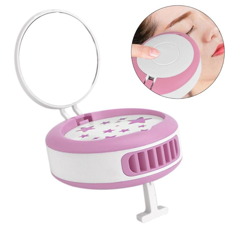 USB Rechargeable Eyelash Fan Portable Mini Grafting Portable Two Gears Adjustable Wind Speed  With Mirror Beauty Makeup Tools