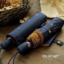 OLYCAT מטריית גשם נשים כהה שמש הגנה אוטומטי מטרייה נשי שמשייה 3 מתקפל תחרה מטריית Windproof 8K Parapluie