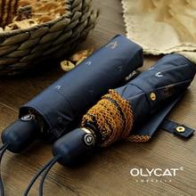 OLYCAT Зонт от дождя женский темно синий солнцезащитный автоматический зонт женский зонт 3 складной кружевной зонтик для защиты от ветра 8K Parapluie
