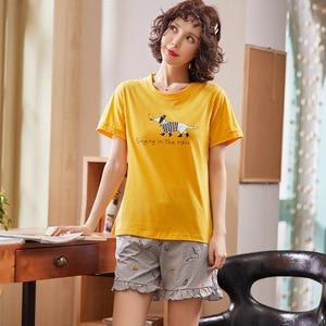 Image 3 - シンプルなパジャマパジャマ女性のパジャマ綿半袖女性のスパースターセットホームウェアかわいい漫画ラウンジ着用tシャツサイズについて