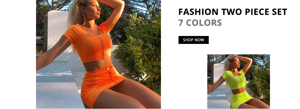 Cryptographic Fashion Outfits Bright Orange Women's Sets Buttons Long Sleeve Crop Tops Sexy Two Pieces Set Casual Bodycon Skirts 1