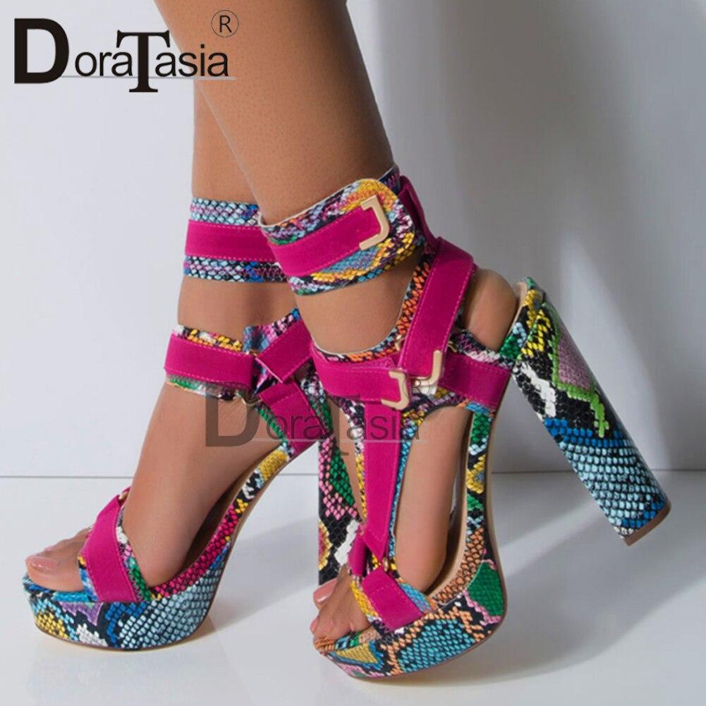 DORATASIA Big Size 34-43 Luxury Brand Lady High Heels Gladiator Sandals Platform Colorful Summer Sandals Women Party Shoes Woman