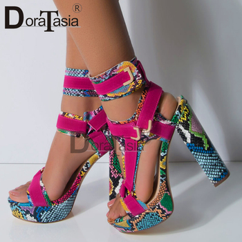 цены DORATASIA Big Size 34-43 Luxury Brand Lady High Heels Gladiator Sandals Platform Colorful Summer Sandals Women Party Shoes Woman