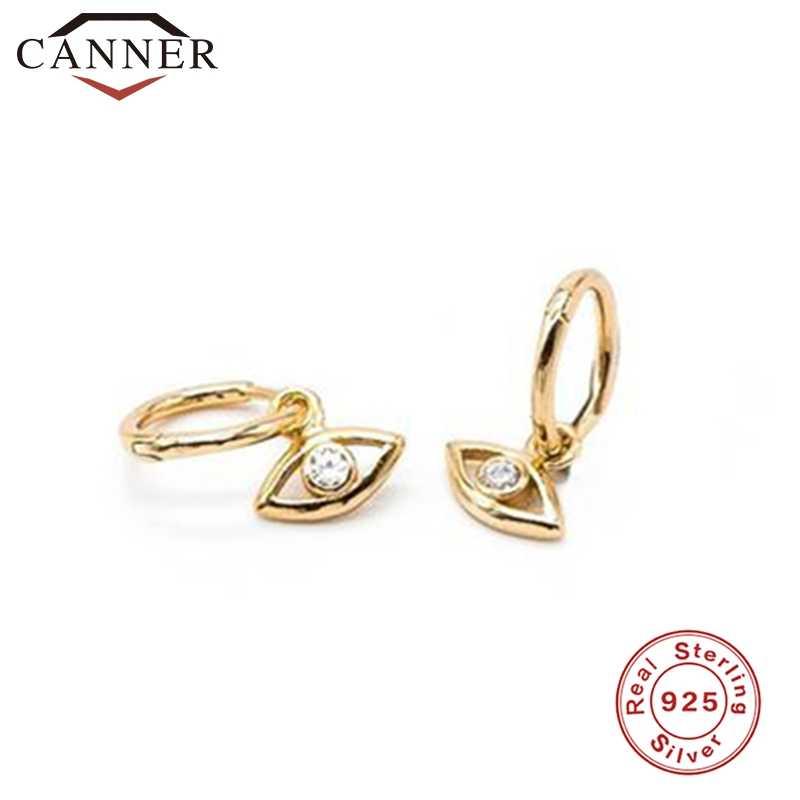 CANNER, pendientes de aro pequeños de lujo, pendientes de circón de Plata de Ley 925, pendientes de aro redondos de Color dorado y plateado, joyería fina