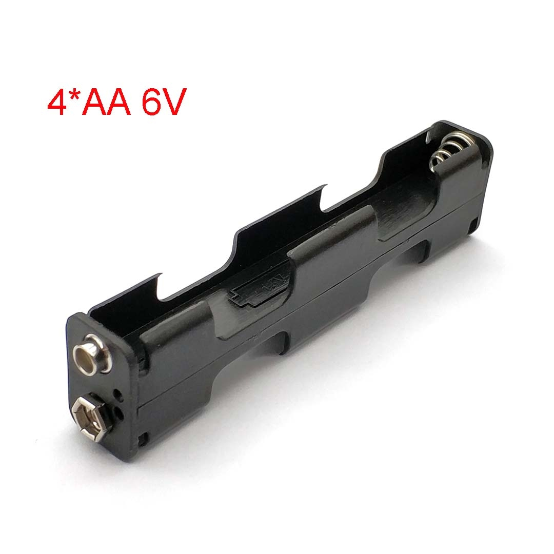 Battery Holder 4 X AA Long Strip Back Case 6V Dual Layers Double-sided Box 9V Button Plastic Storage Container Soldering Connect