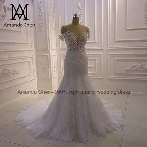 Image 2 - באיכות גבוהה תפור לפי מידה כבוי כתף בת ים Sheer חתונה שמלה