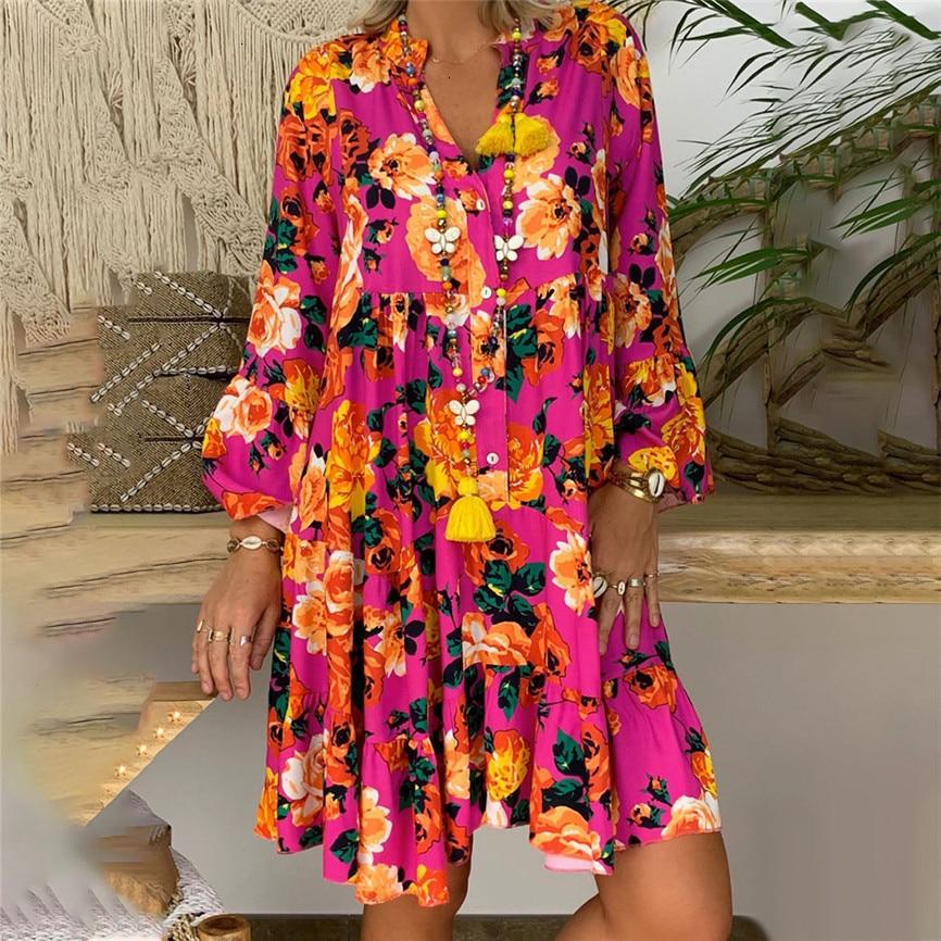 Women Summer Dress 2019 New Fashion Sexy Dress Women's Ladies Loose Print Three Quarter Sleeve Mini Dress Elegant Party Vestidos