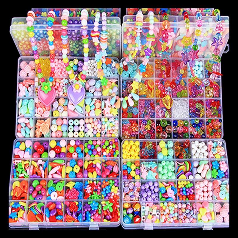 450-1000 pièces enfant perlé bricolage jouets Bracelet collier anneau pendentif bandeau tissage ensemble cadeaux pour les filles à la main cadeau de noël