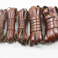 Junetree vintage Genuine Cowhide Leather cord strip Flat rope DIY leather craft Jewelry bag 5 meters leathercraft