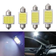 1x c10w c5w led cob festão 31mm 36mm 39mm 41/42mm 12v lâmpadas brancas para carros luz de leitura interior da placa de licença 6500k 12smd