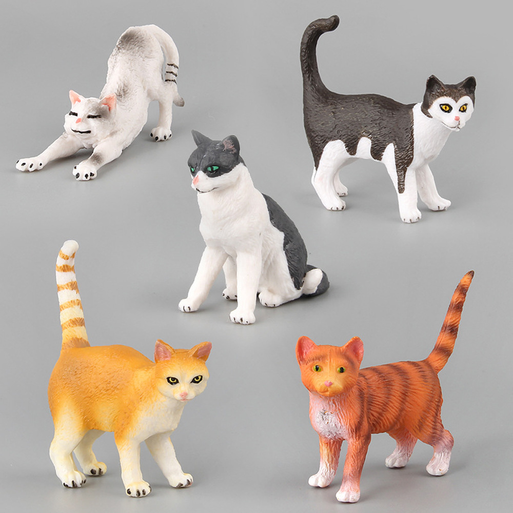 Mini Simulation Cat Animal Model Small Plastic Figures Home Decor Micro Landscape Figurine Decoration Gift For Kids Toy Statue