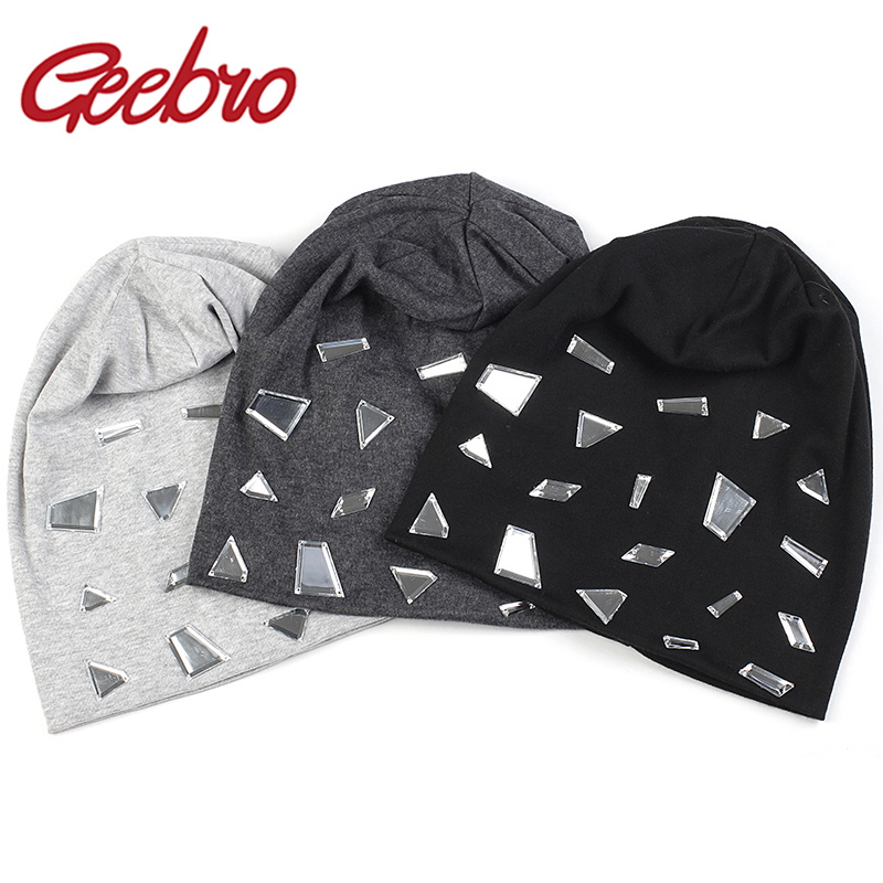 Geebro Women Casual Fashion Mirror Accessories Hats 2020 New Spring Soft Ladies Beanies Hat Winter Baggy Gorro Girls Cap