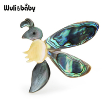 Wuli&baby Natural Abalone Shell Bee Brooches Women Men Animal Brooch Pins Wedding Gifts