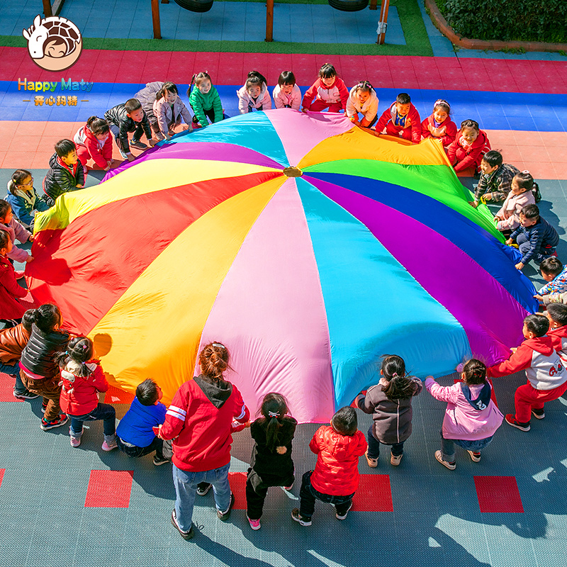 Happymaty 2M/3M/3.6M/4M Diameter Outdoor Rainbow Umbrella Parachute Toy Kindergarten Teamwork Game Toy For Children