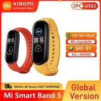 Xiaomi-pulsera inteligente Mi Band 5, accesorio deportivo resistente al agua con Pantalla AMOLED de 4 colores, control del ritmo cardíaco y Fitness