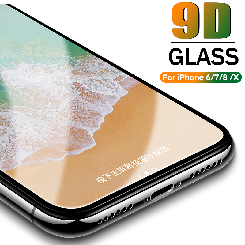 9D Protective Glass For IPhone 6 6S 7 8 Plus X XR Glass On Iphone 7 6 8 X XS MAX Screen Protector IPhone 7 6 Screen Protection