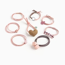 цена на Women Hair Band Lot 8PCS Geometric Heart Shape Hair Ropes Elastic Hair Band for Girls Rubber Band Cute Hair Ties Hair Accessory