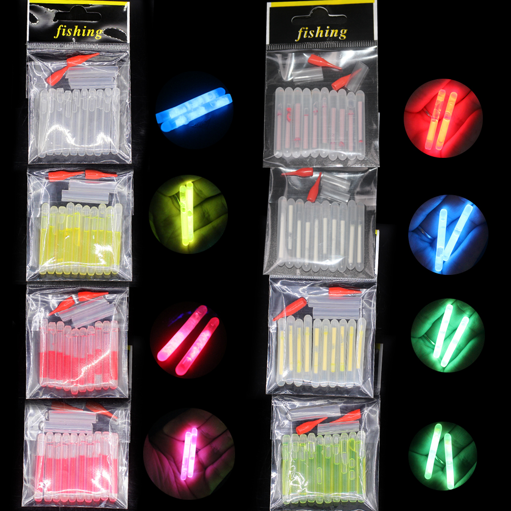 10pcs/bag 4.5*40mm Fireflies For Fishing Float Fluorescent Lightstick Light Night Float Rod Lights Dark Glow Stick