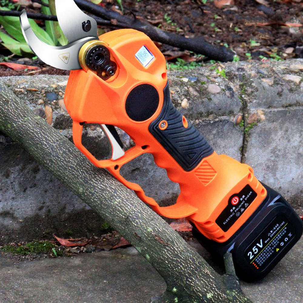 Tools : 25V 40mm Cordless Pruner Electric Pruning Shear Lithium-ion Battery Efficient Fruit Tree Bonsai Pruning Branches Cutter