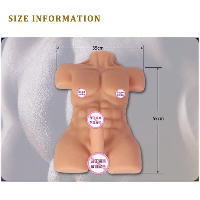 Dispositif d'auto confort féminin Gel de silice solide mâle demi corps inversé modèle Simulation pénis sexe Gay Tpe amour poupée pour les femmes - 6