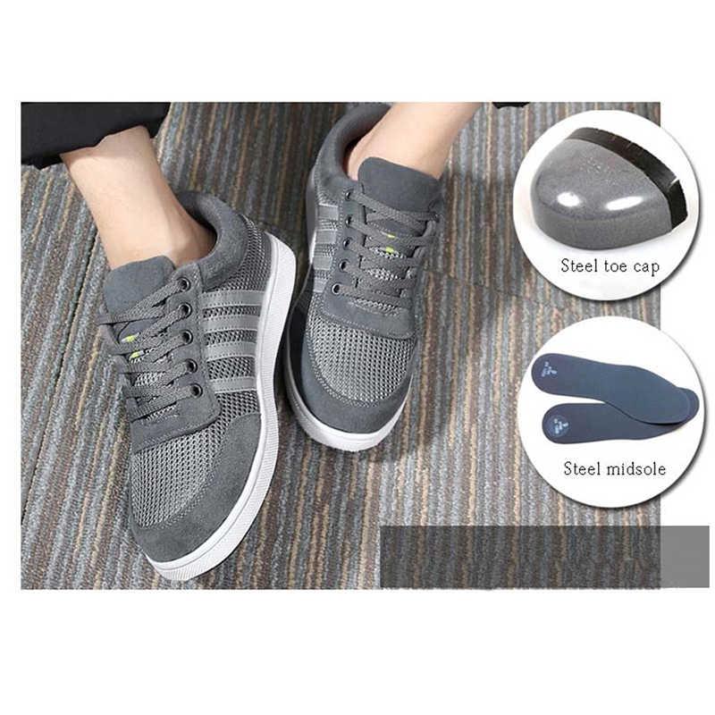 Yeni erkek Çelik burunlu güvenlik ayakkabıları Moda iş ayakkabısı Inek Deri Malzeme Üst ve delinmez Tabanı Artı Boyutu 35 -46