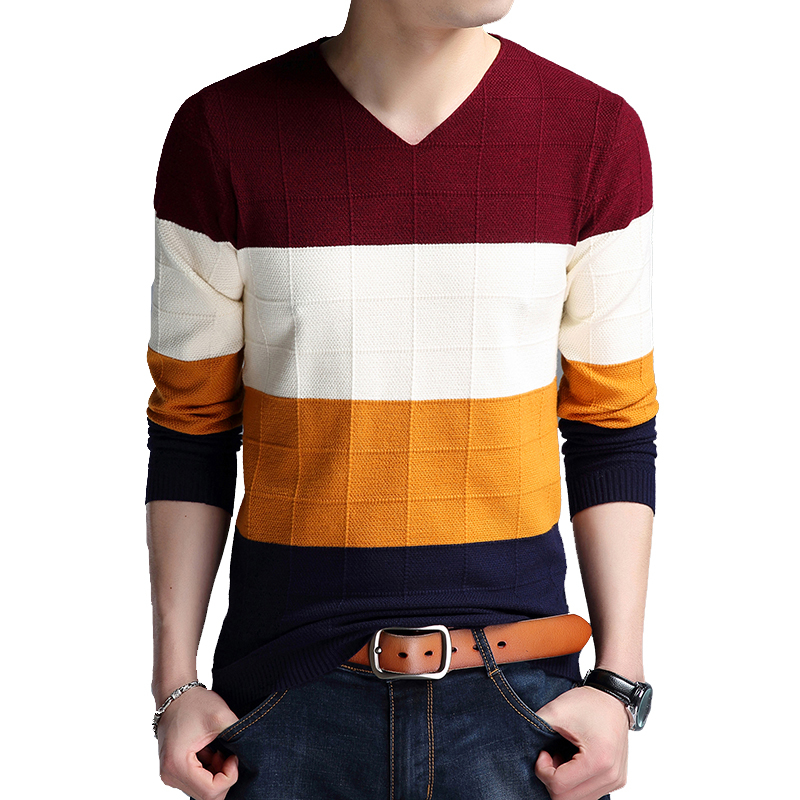 BROWON Brand-sweater Autumn Men's Long Sleeve Sweaters  New V-neck Slim Fit Sweater Striped Bottom Sweaters Large Size M-4XL