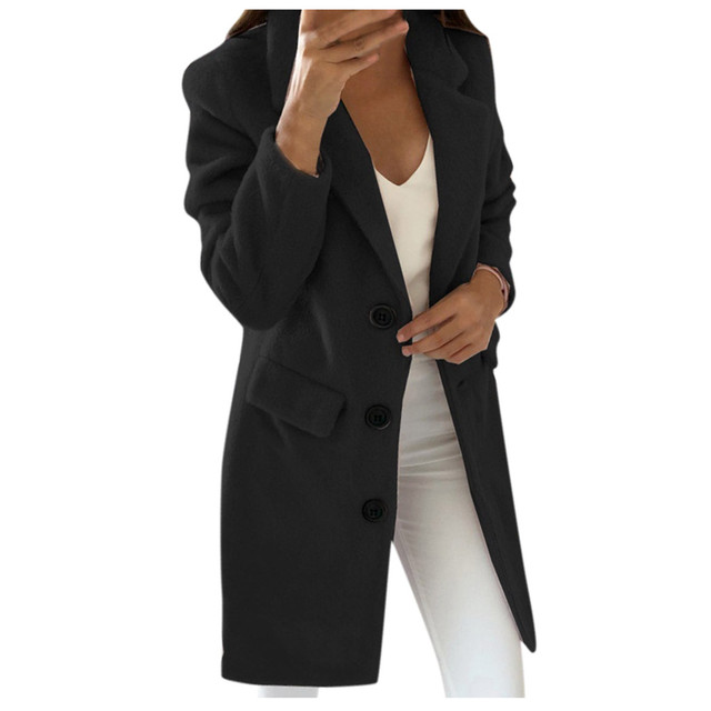 Woman Long Wool Coat Elegant Blend Coats Slim  Female Long Coat Outerwear Jacket Dropshipping size Leisure Work clothes  free sh 2