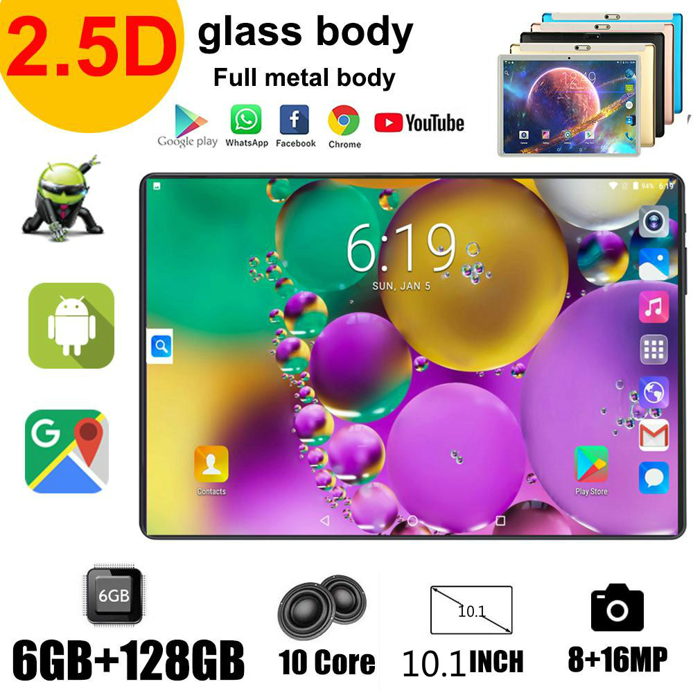 2021 novo dez-core 10.1-inch android 9.0 ultra-fino novo 6g + 128gb tablet aprendizagem completo netcom 4g apoio zoom, suporte netflix
