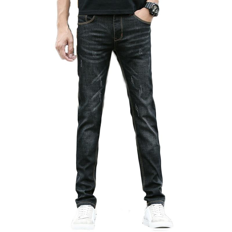 Stretch Men Denim Zipper Slim Male Young Student Jeans Fly Slim Jeans Jogger Pants Pencil Jeans Men Fashion Casual