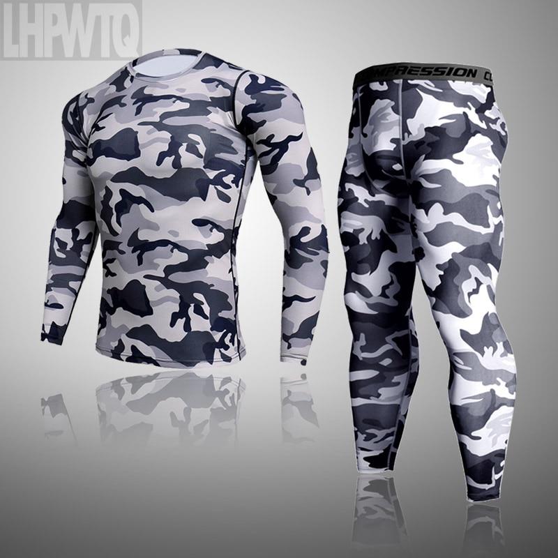 Мужское термобелье для мужчин, мужское термобелье, камуфляжная одежда, комплект кальсонов, колготки, зимнее компрессионное белье, быстросо...