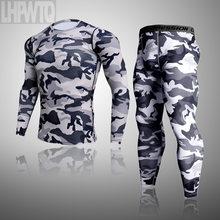 Roupa interior térmica masculina para homem masculino thermo camuflagem roupas longas johns conjunto collants inverno compressão roupa interior secagem rápida