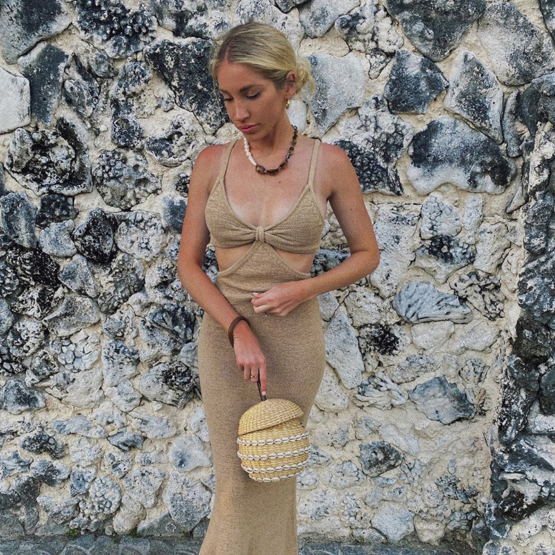 Knitted Maxi Dresses for Women Summer Elegant Sexy Party Cut Out Backless Bodycon - dresses