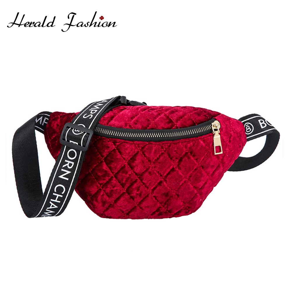 Herald Fashion Plaid Velvet Waist Bag Fanny Pack Women Lady Chest Messenger Bags Shoulder Purse Women Travel Phone Pouch Bags
