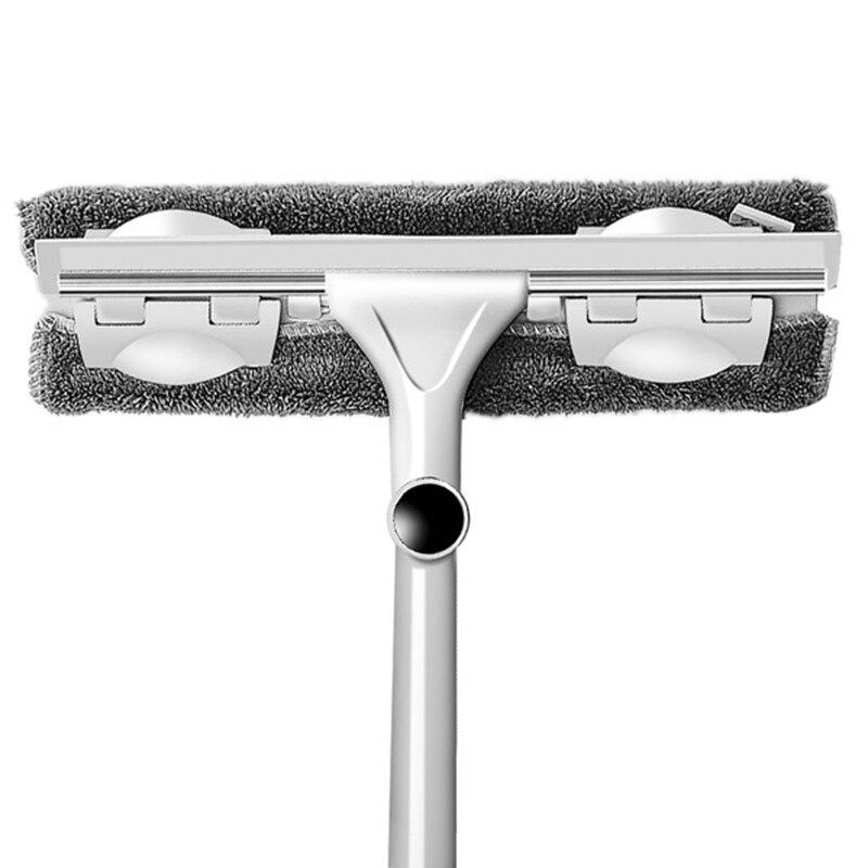Ev ve Bahçe'ten Süpürgeler'de Cam temizleme aracı çift taraflı teleskopik çubuk pencere temizleyici silecek silecek uzun saplı döner kafa fırça silikon Scrubber title=