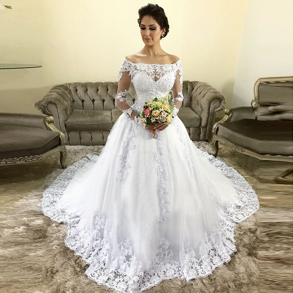 Boat Neck Ball Gown Bridal Gown Vestido De Noiva Robe De Mariee Off The Shoulder Long Sleeve Lace Shining Tulle Wedding Dresses
