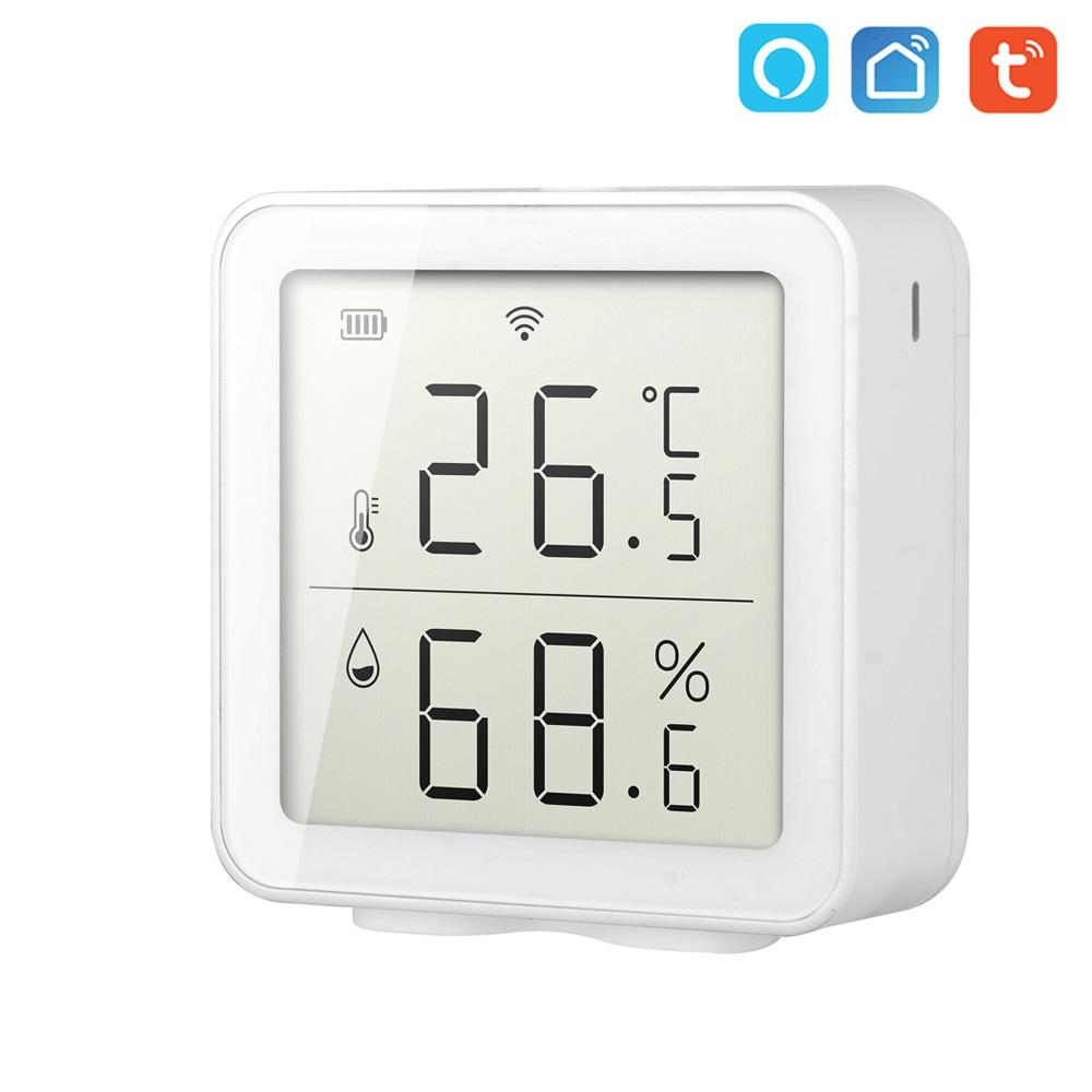 Датчик температуры и влажности Tuya с Wi-Fi, умный термометр для дома и умного дома, измеритель влажности, работает с Alexa