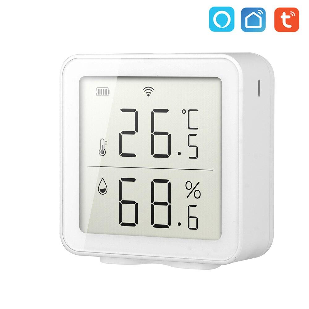 Tuya wi fi sensor de temperatura e umidade casa inteligente indoor sensor inteligente termômetro medidor umidade trabalho com alexa