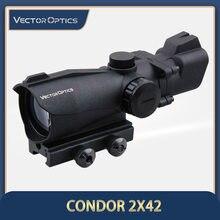 Vector Optics Condor-mira de punto verde/rojo, 2x42, mira frontal y trasera, mira de hierro, tiro de caza, 2 aumentos, 5 MOA