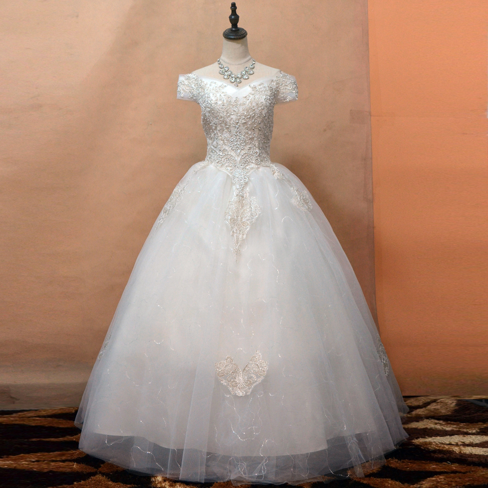 New Year Christmas Bridal Dress Gown Boat Neck Ball Gown Wedding Dress Lace Embroidery Beading Floor Length Vestidos De Noiva