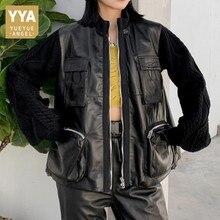 Safari Stil Schaffell Stricken Langarm Trenchcoat Weibliche Streetwear Designer Lose Zipper Echtes Leder Oberbekleidung Jacke