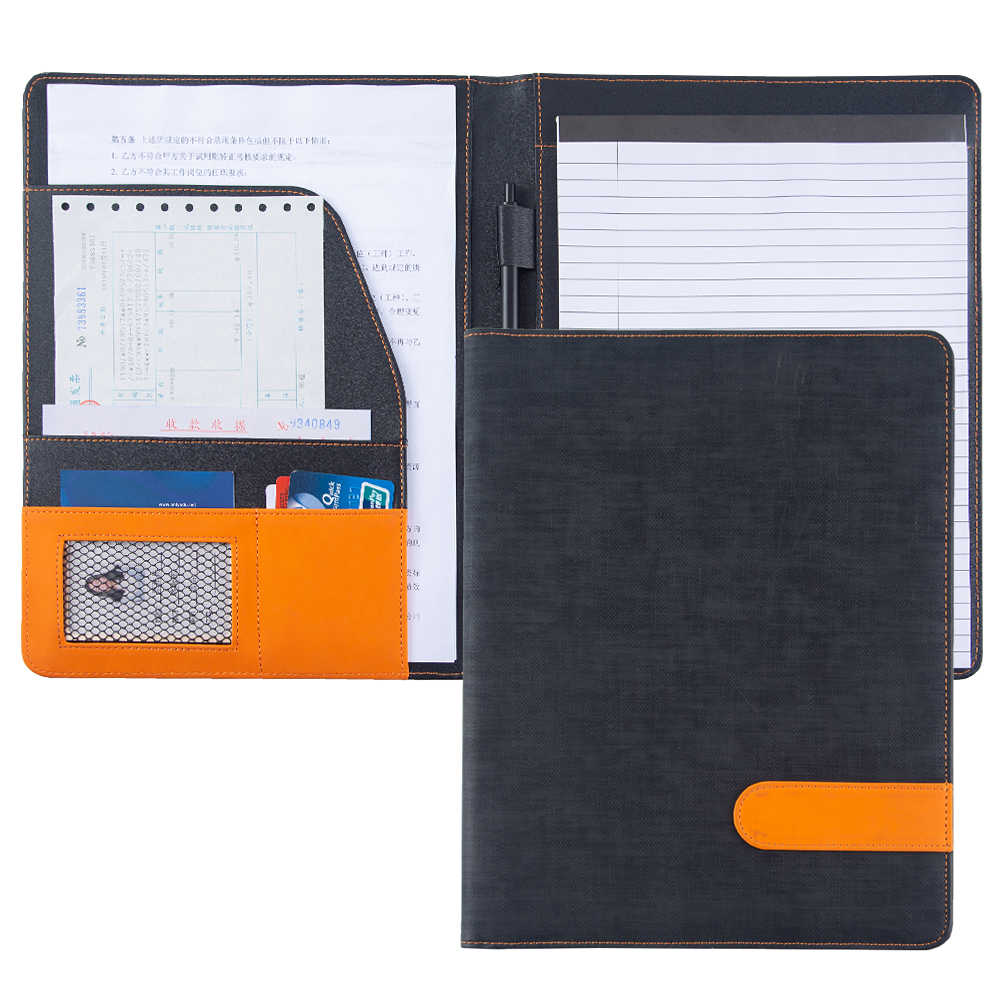 A4 Portfolio Padfolio PU Leather Conference Bag Business Briefcase Office School Supply Document File Folder
