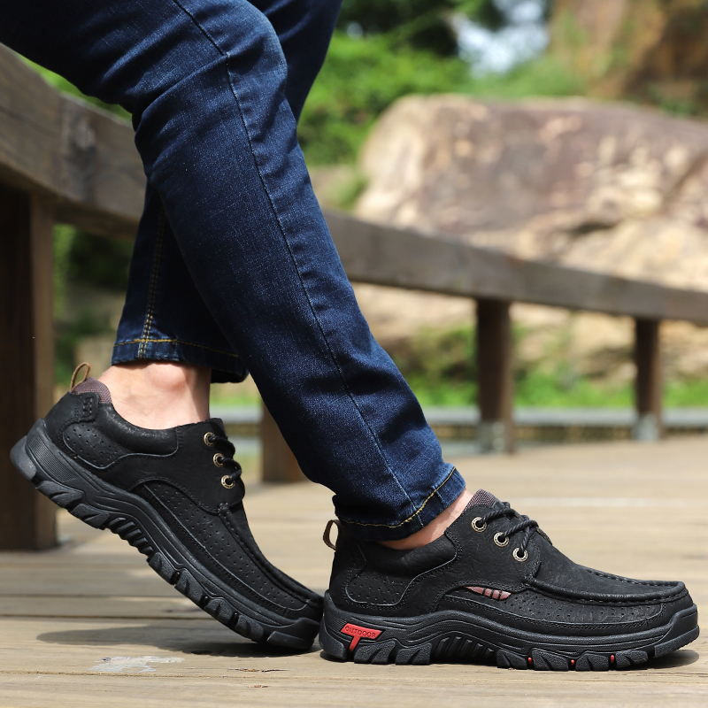 H284a1587d4ea40028ec94b1b9446fb01A High Quality 2019 New Men Comfortable Sneakers Waterproof Shoes Leather Sneakers Fashion Casual Shoes Male Plus Size 38-48