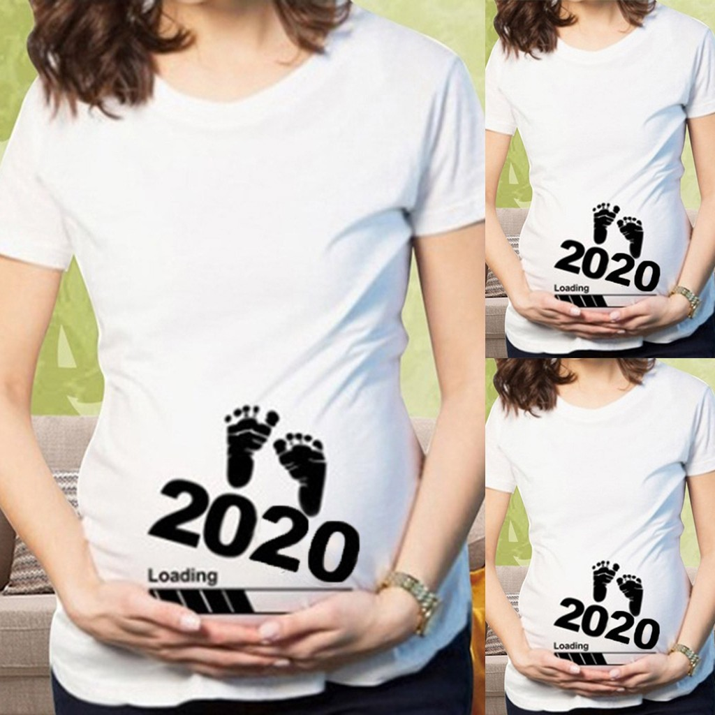 2020 New Women Clothes Maternity Casual Tops T-Shirt Foot Print 2020 Printed Pregnancy Shirt Long Ladies T-Shirt Women Clothing