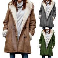 2020 повседневное женское зимнее одноцветное пальто с роговыми пряжками на флисовой подкладке, длинное теплое пальто с капюшоном, зимняя жен...
