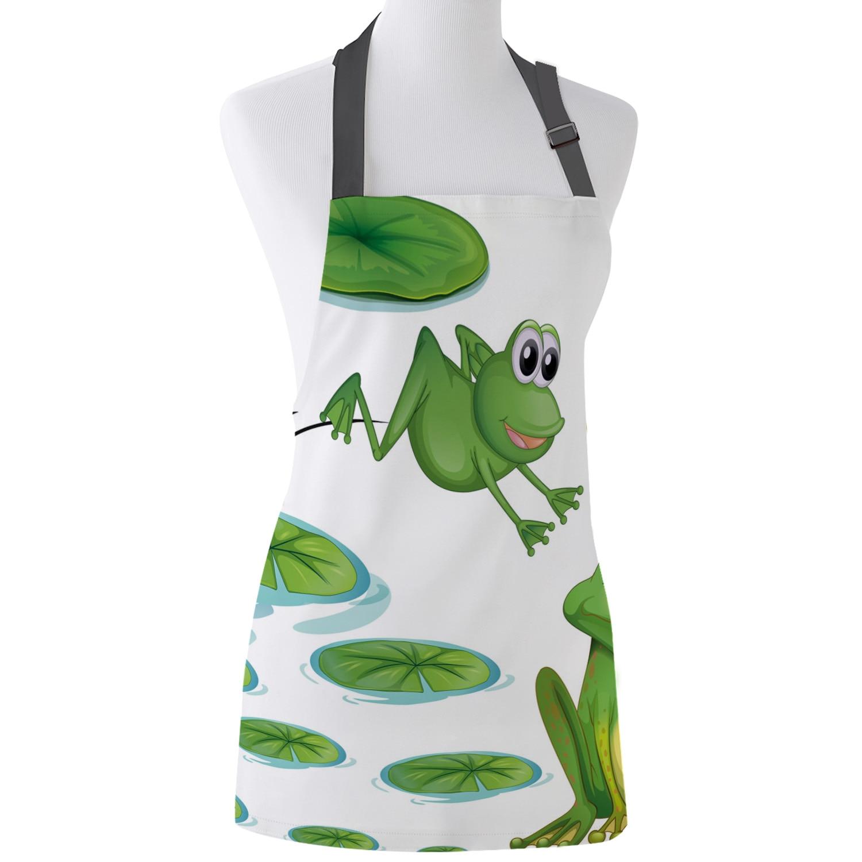 Frog Lotus Leaf Pool Cartoon Kitchen Aprons For Woman Kids Work Clothes Men Nail Technician Waitress Cooking Apron Christmas Aliexpress