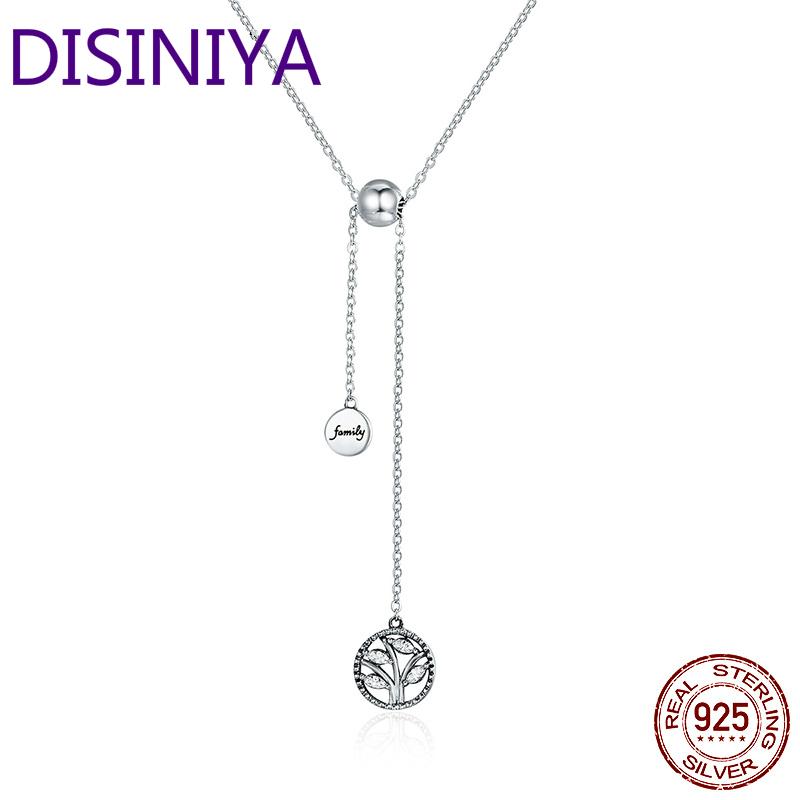 DISINIYA Original Fashion 925 Pure Silver Life Tree Pendant Necklace Luxury Jewelry Female Gift XCQN39106
